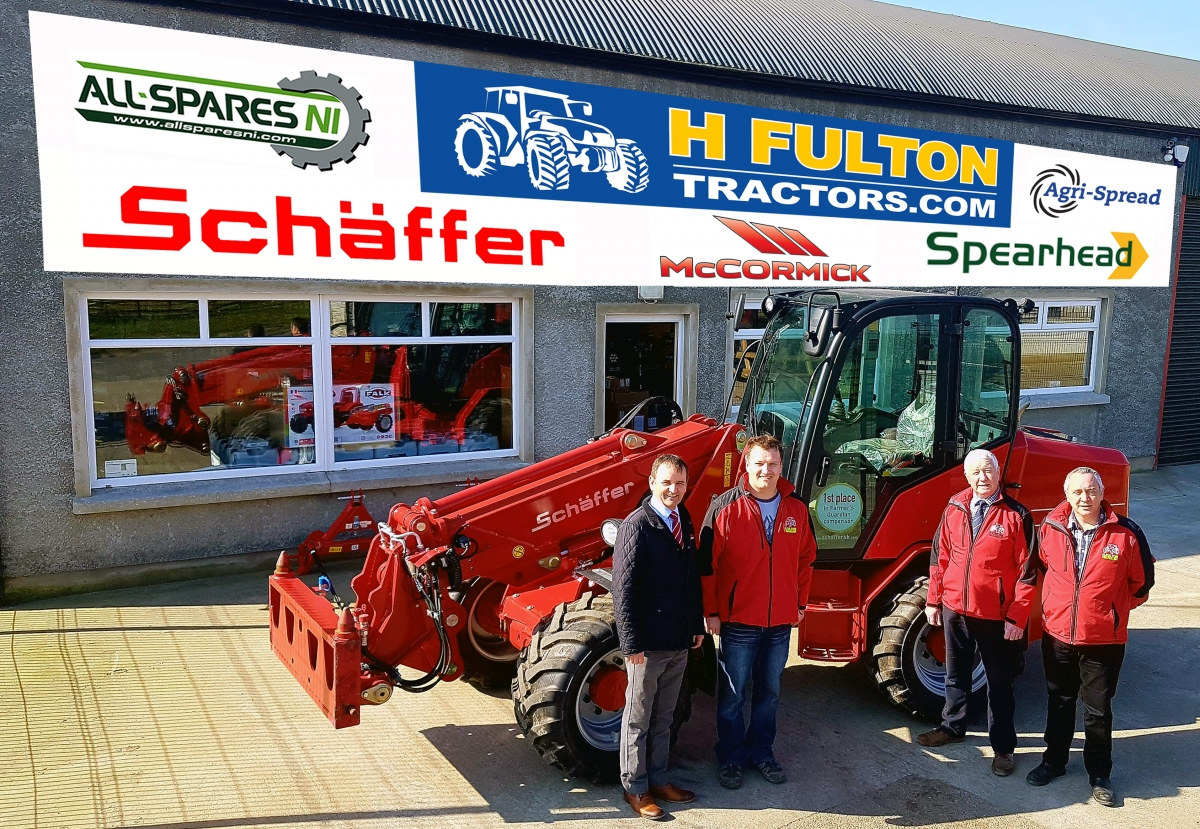 From Left: Colin Gilbert, Schäffer Area Manager, Howard Fulton, owner of H Fulton Tractors along with salesmen Gerry Carvill &Laurence McMullan